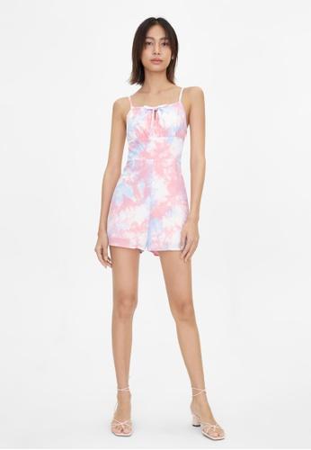 Pomelo pink Pastel Tie Dye Print Romper - Pink A12B8AAF2216AAGS_1