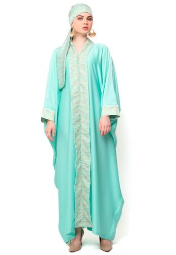 Kanzi by liza yahya green Kanzi Exclusive Long Sleeve Songket Kaftan 3DB02AA1D1BE4CGS_1