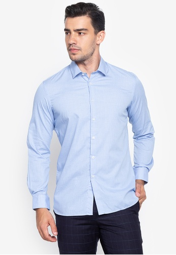 Wharton blue Casual Patterned Long Sleeves Shirt CE464AA506F822GS_1
