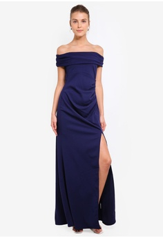 080c0a6e45 Goddiva navy Off The Shoulder Maxi With Split A392DAA8720F26GS_1