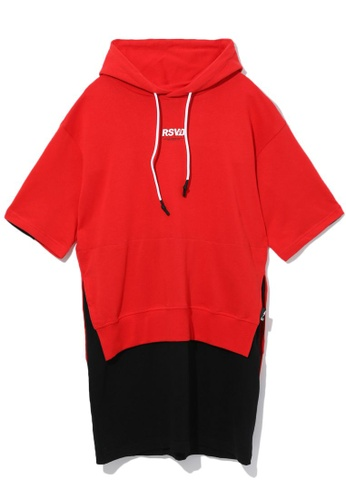 izzue red Layered slogan hoodie dress 11727AA0718953GS_1