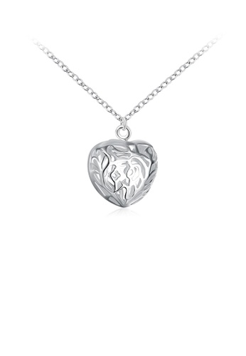 Glamorousky silver Simple Romantic Hollow Heart Pendant with Necklace 586E0AC1C36666GS_1
