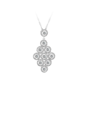 Glamorousky silver 925 Sterling Silver Rhombus Pendant with White Cubic Zircon and Necklace 140E6ACC7B2F89GS_1