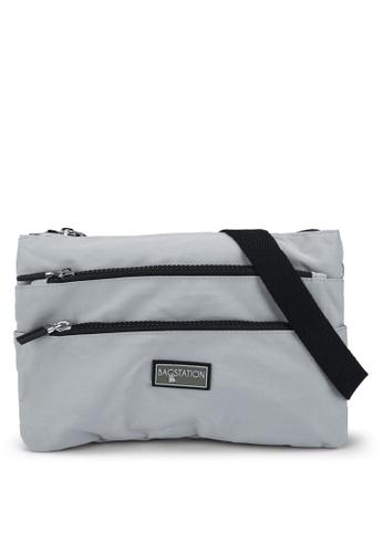 Bagstationz grey Contrast Zip Nylon Sling Bag 09BEAAC503465DGS_1