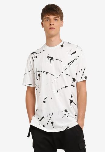 Flesh IMP white Splattering Masterpiece Oversized T-shirt FL064AA0RNA5MY_1