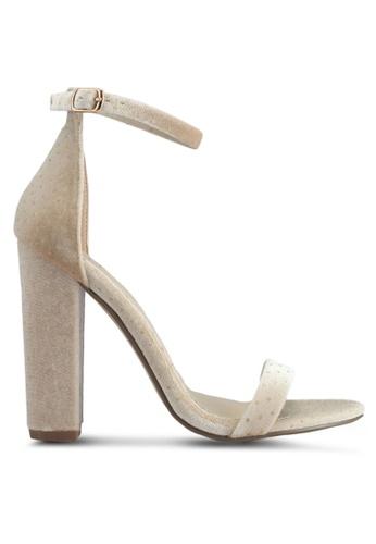 MISSGUIDED beige Block Heel Speckled Velvet Sandals 0B92CSH5EF98BEGS_1