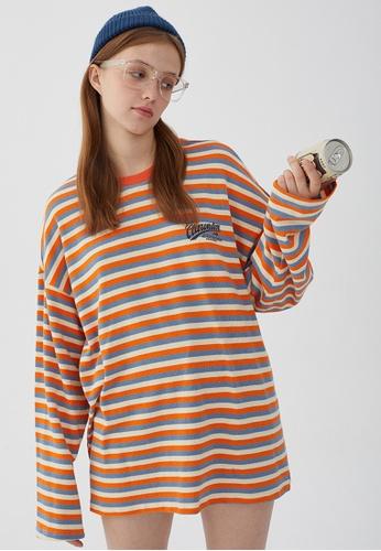 Twenty Eight Shoes Loose Contrast Stripe Printed Long T-shirt HH0938 F4CFDAA3CFA539GS_1