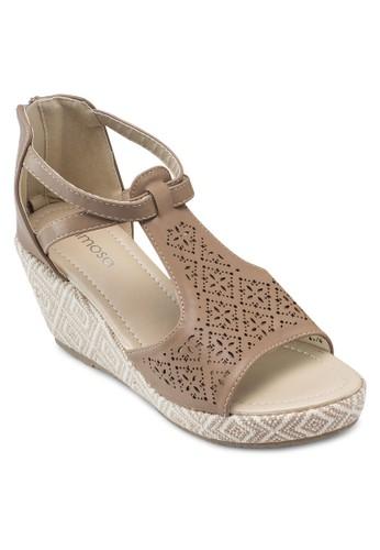 Mimosa 雕花esprit分店露趾楔型鞋, 韓系時尚, 梳妝
