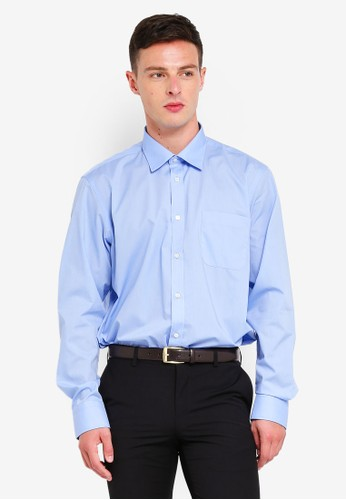 OVS blue Slim Fit Long Sleeve Formal Shirt F3298AA04B0340GS_1