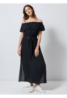 f1b19f108950 Dorothy Perkins black Black Polka Dot Bardot Maxi Dress A970EAAAC503F1GS_1