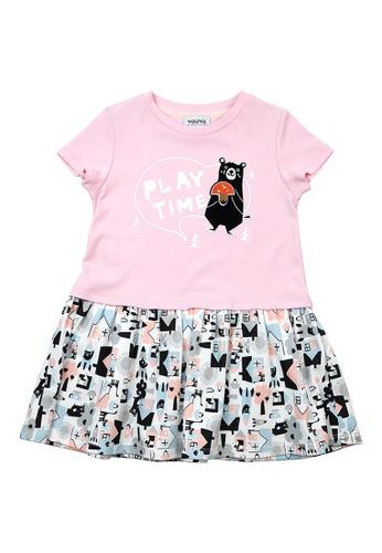 Vauva pink Vauva Girls Bear Play Time One Piece Dress w/ Nut Velcro Strap - Pink 99BCCKAF30CCF2GS_1