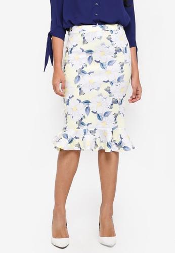 Dorothy Perkins yellow Yellow Floral Pephem Pencil Skirt CA98DAA390CA1BGS_1