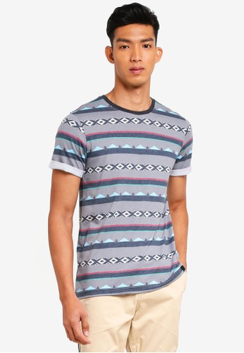 UniqTee navy Geometric Pattern Roller Tee CF1F6AA6233A1AGS_1