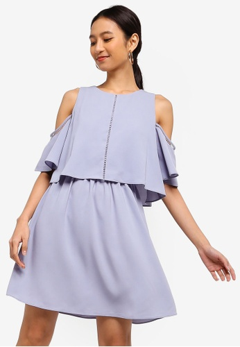 ZALORA grey Cold Shoulder Fit And Flare Dress B0F66AA9630EF2GS_1