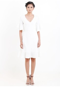 [PRE-ORDER] V-Neck Dress Withflounced Sleeves And Hem