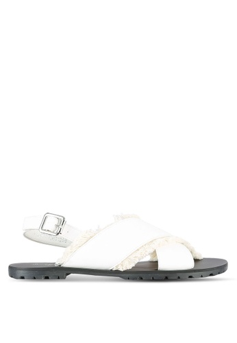Something Borrowed white Fringed Slingback Sandals 5A881SHE3C95B9GS_1