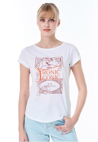 Sisley white Printed T-shirt 8D0C3AA6B00ED8GS_1