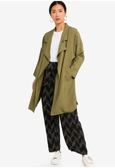 268bdfb7429dc 38% OFF ZALORA BASICS Basic Waterfall Trench Jacket S$ 39.90 NOW S$ 24.90  Sizes M L XL