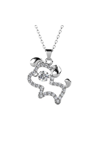 Her Jewellery silver 12 Dancing Zodiac Pendant (Dog) WG - Made with premium grade crystals from Austria 7D241ACDCA4E00GS_1