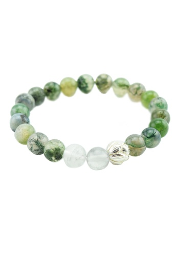 azilaa gemstone healing buddha agate beaded moss at full bracelet