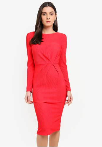 WALG red Long Sleeve Midi Dress 23297AA4CFA73CGS_1