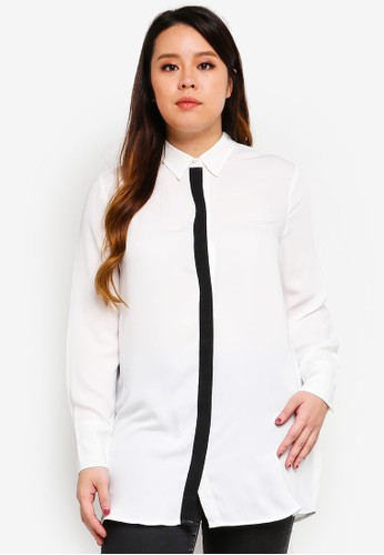 Violeta by MANGO white Plus Size Combined Flowy kemeja BE887AA69E8F5FGS_1