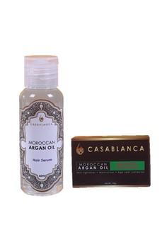 Moroccan Argan Oil Mangosteen Whitening Soap 135g (Premium) with Moroccan Argan Oil Hair Serum 60ml (Elite) Bundle