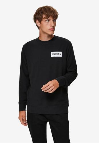 Selected Homme black Place Crew Neck Sweatshirt 5B0DAAAD12AB66GS_1