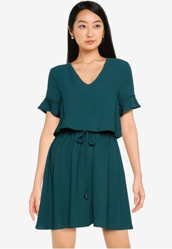 ZALORA BASICS green V Neck Layered Dress EFE5CAA01E8D75GS_1