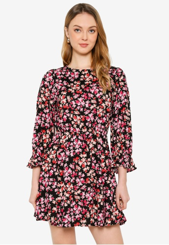 Miss Selfridge black Black Rose Long Sleeves Dress 02429AAF67181CGS_1