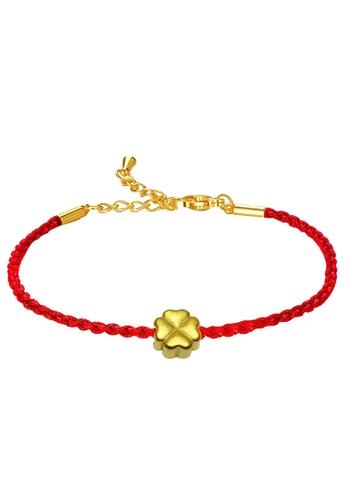 LITZ gold [SPECIAL] LITZ 999 (24K) Gold Four Leaf Clover with Bracelet 四叶草手绳 EPC0978-B-R(0.14g+/-) 855A6AC7256C42GS_1