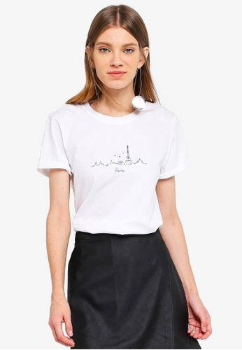 TOPSHOP white Paris Embroidered Skyline Top D018AAA0D32952GS_1