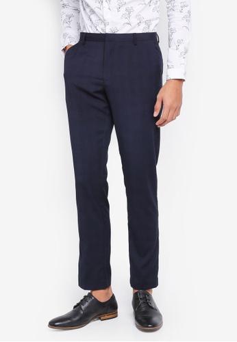 Burton Menswear London 海軍藍色 格紋窄管長褲 861C9AAC2A4056GS_1