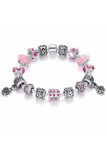 YOUNIQ pink YOUNIQ Silver Charm Bracelet with Murano Glass Beads for Her Gift PA1393 (Pink) A9C8CAC21D300CGS_1