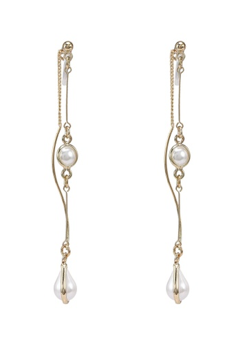 GLOBAL WORK white Pearl Chain Drop Earrings 29226AC43847BFGS_1