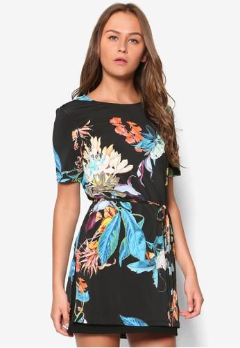 花卉印花繫帶洋裝zalora 心得, 服飾, 上衣