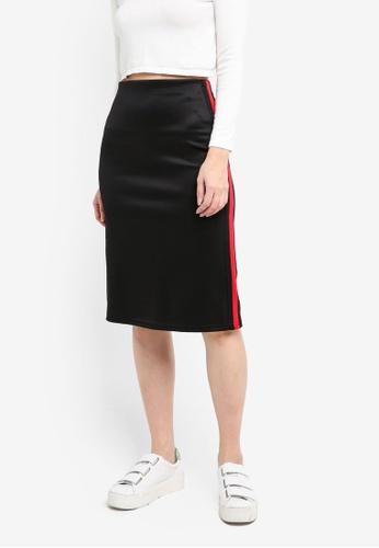 Kitschen black Contrast Side Panel Midi Skirt 0FDA0AA0854FE0GS_1