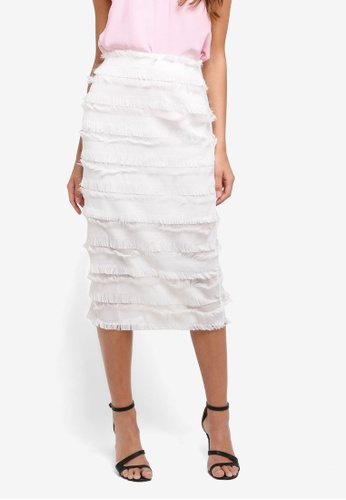River Island white White Frayed Detail Pencil Skirt 98F79AA552913EGS_1