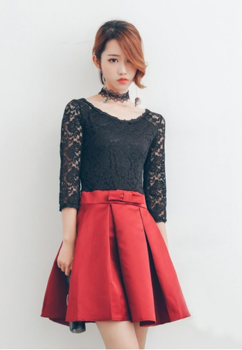 Shopsfashion black and red Party Flare Dress in Maroon SH656AA58QPDSG_1