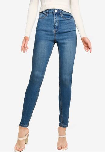 MISSGUIDED blue Sinner High Waist Skinny Clean Jeans D89D0AA9EABCA3GS_1