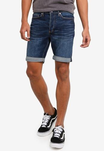Topman blue Mid Wash Stretch Skinny Shorts F5E89AAF88C266GS_1