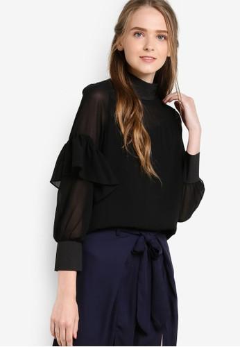 薄紗拼接高領女性襯衫, 服飾,esprit 內衣 上衣