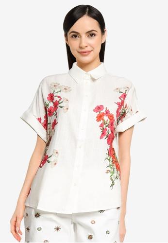 Desigual white Linen Print Shirt A8025AA9049FC7GS_1