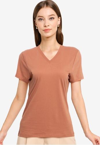 Tolliver brown V Neck Basic Short Sleeve Tee 5815FAABD594D5GS_1