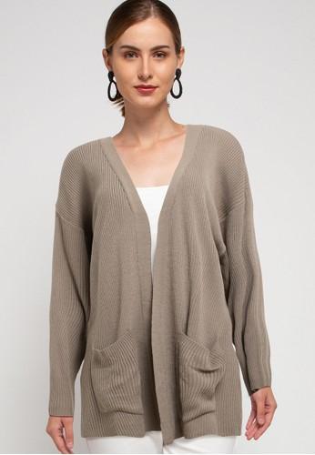 Button On brown Oversized Long Sleeve Rib Kimono 99D18AADF3CFA2GS_1