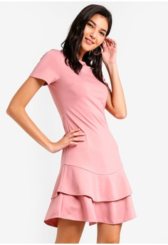 674885c0d9 ZALORA pink Tiered Flare Hem Dress C8D9EAA91D553CGS 1