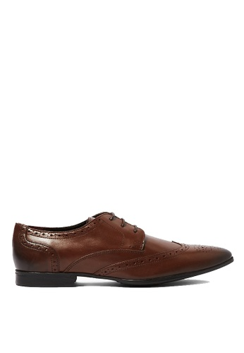 Topman brown Brown Leather Fly Brogues A38C6SHFABEB3CGS_1
