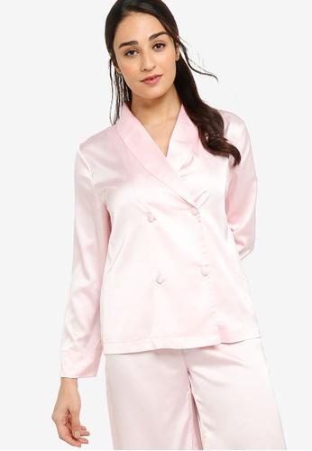 ZALORA BASICS 粉紅色 Lounge Satin Long Sleeve Shirt 6C136AAFF8A20FGS_1