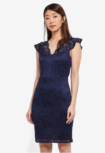 Dorothy Perkins navy Stretch Lace Bodycon Dress FE3C9AAA24D788GS_1