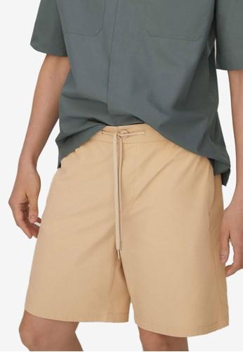 MANGO Man beige Tencel Cotton Jogger Shorts 83F85AAB079B6DGS_1